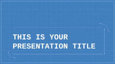 Free technical Powerpoint template or Google Slides theme in blueprint style