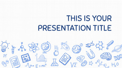 Free Powerpoint template or Google Slides theme with science drawings