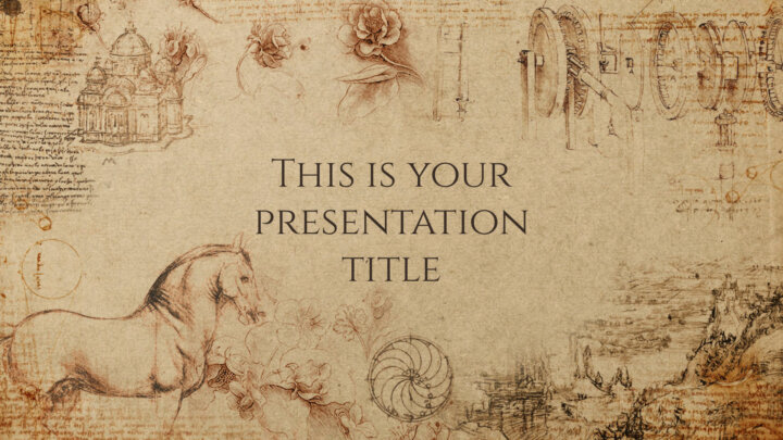 Free Powerpoint template or Google Slides theme with historical style