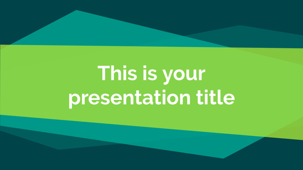 Free green geometric Powerpoint template or Google Slides theme