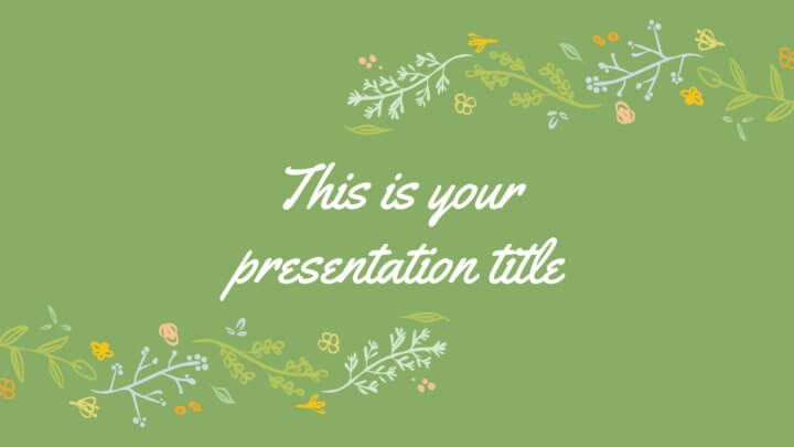 Free green Powerpoint template or Google Slides theme with floral illustrations