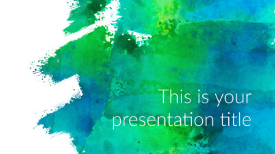 Free art Powerpoint template or Google Slides theme with watercolors