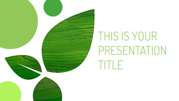 Free green Powerpoint template or Google Slides theme with environmental design