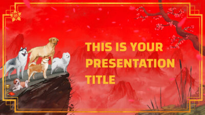Chinese New Year of the Dog 2018 free Powerpoint template or Google Slides theme