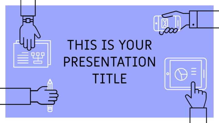 Trabalho em equipe azul. Template PowerPoint grátis e tema do Google Slides