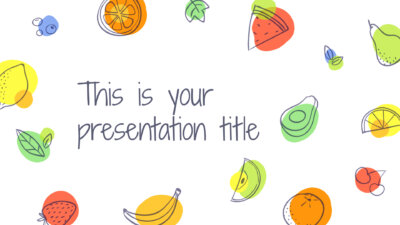 Free Powerpoint template or Google Slides theme with fruits illustrations