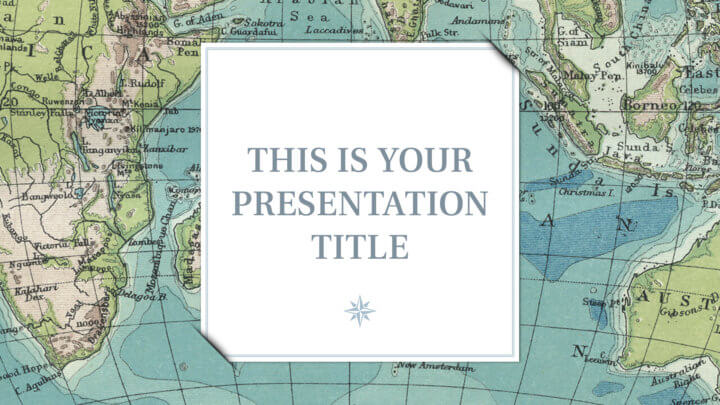 Free template for Powerpoint or Google Slides with vintage maps as backgrounds