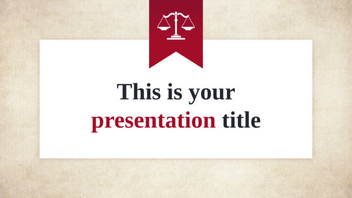 Free formal Powerpoint template or Google Slides theme with justice detail