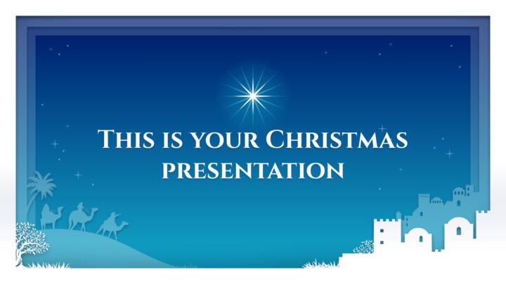 キリスト降誕のシーン付きの無料クリスマスPowerPointテンプレート&Googleスライドのテーマ