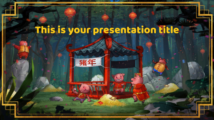 Free Powerpoint template or Google Slides theme of Chinese New year of the Pig