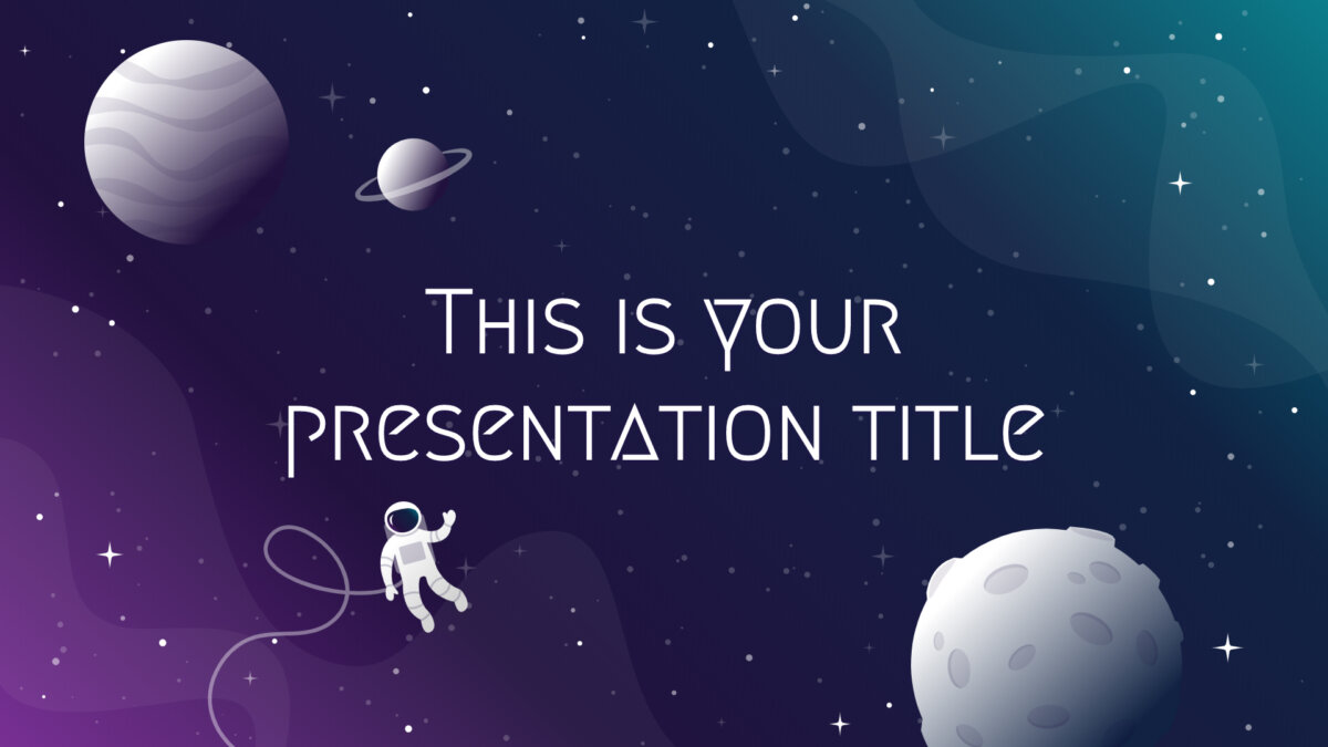 Free Powerpoint template or Google Slides theme with galaxy and space illustrations