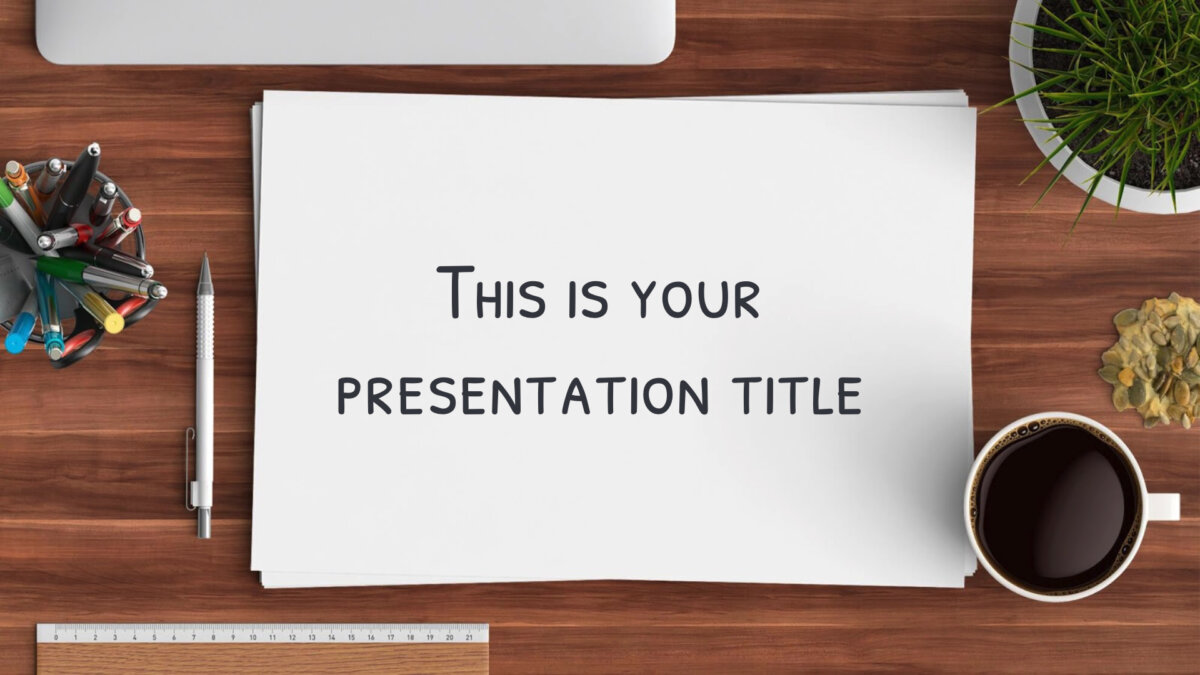 Free Powerpoint template or Google Slides theme with desk and stationery scenes