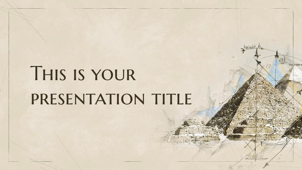 Free Powerpoint template or Google Slides theme with historic architecture illustrations