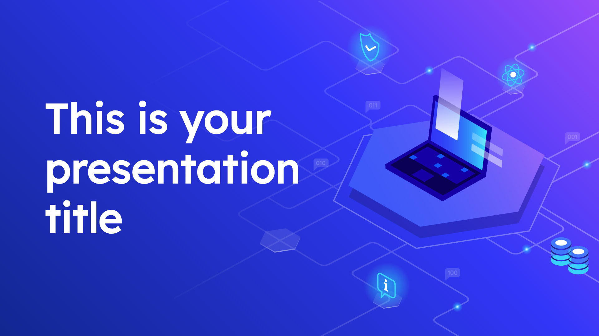 Free technology Powerpoint template or Google Slides theme with isometric illustrations