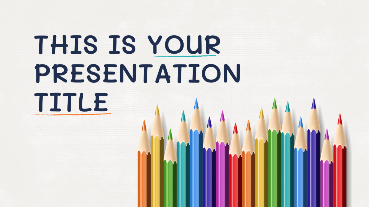 Free educational Powerpoint template or Google Slides theme with color pencils