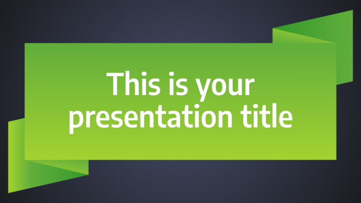 Free business Powerpoint template or Google Slides theme with green ribbons