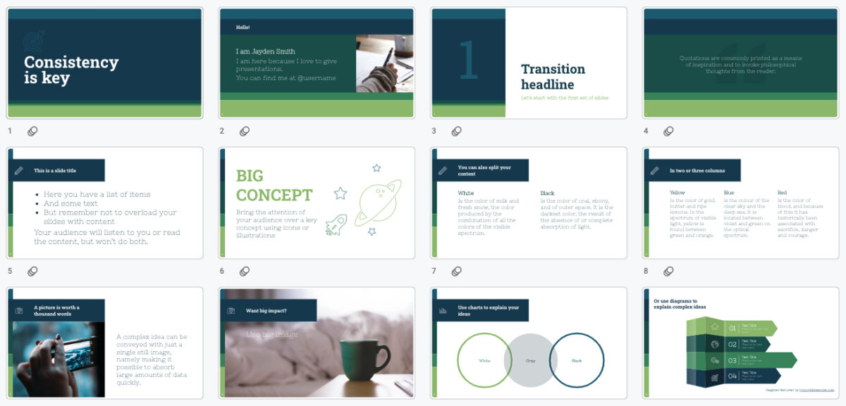 12 presentation slides showing a consistent design