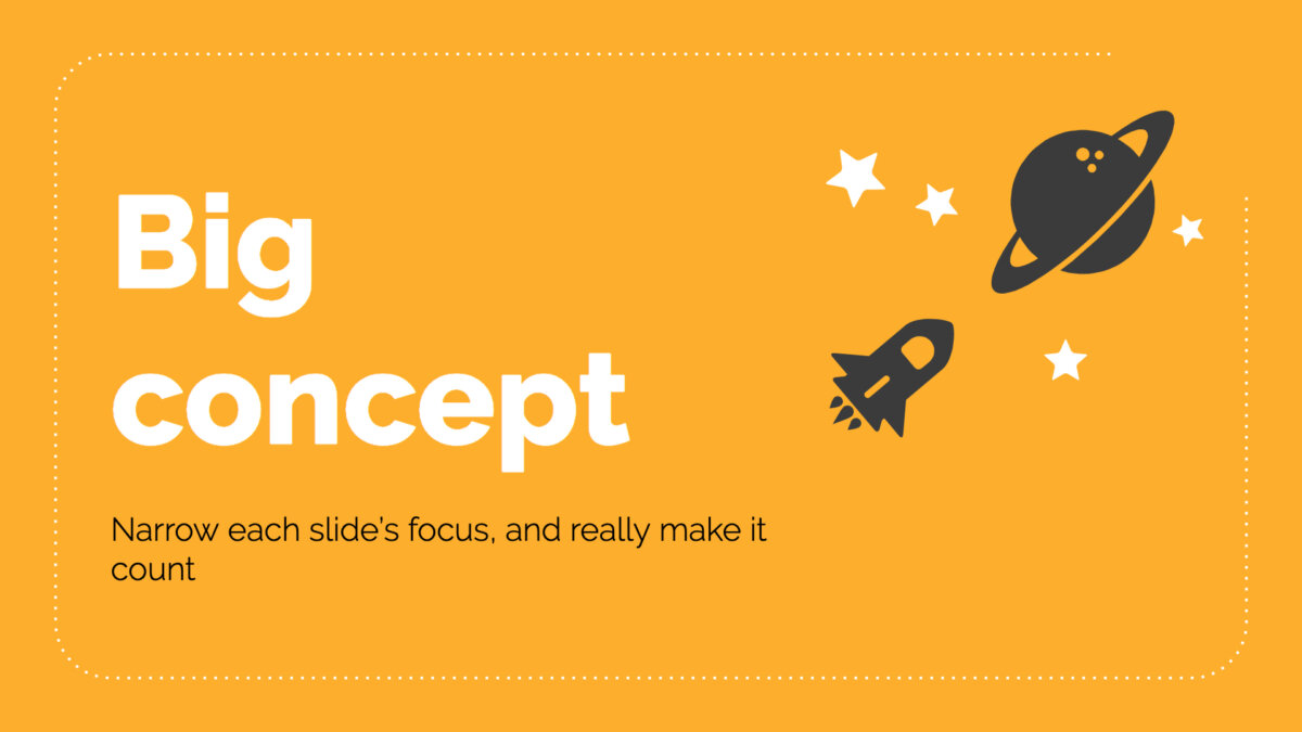 "Yellow slide design with rocket illustration and ""Big concept"" copy"