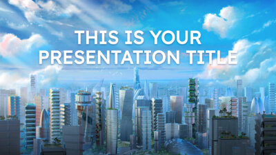 Free Powerpoint template or Google Slides theme with green city theme