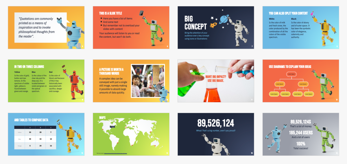 Free presentation template for education with cute robots