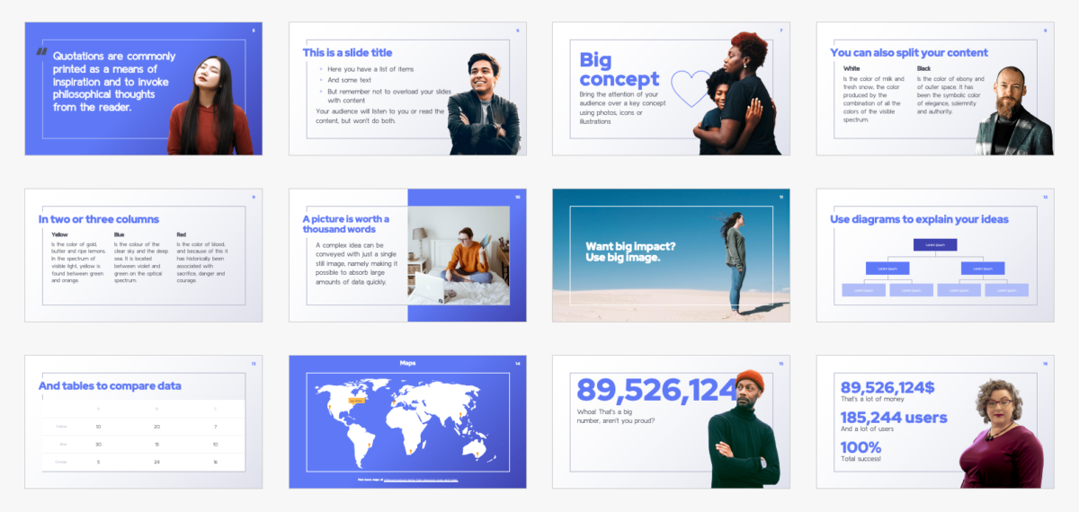 Free presentation template for pitch decks with diverse people