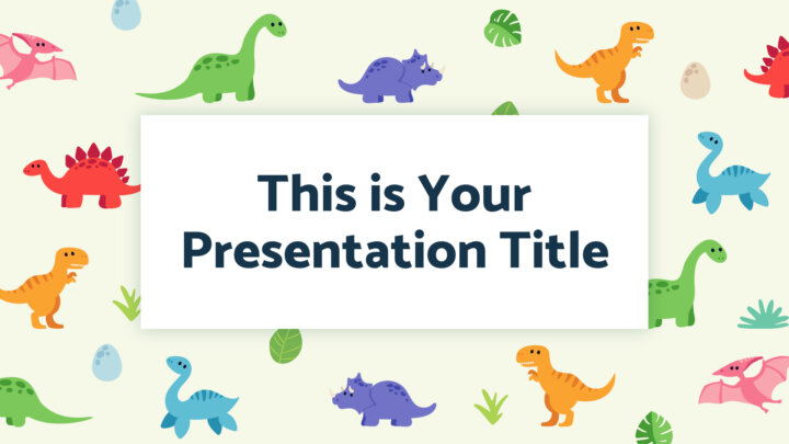 Free Powerpoint template and Google Slides theme with dinosaurs for kids