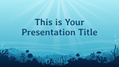 Free Powerpoint template or Google Slides theme with sea underwater illustrations