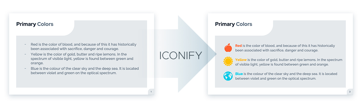What can I use instead of bullet points in a presentation: Iconify