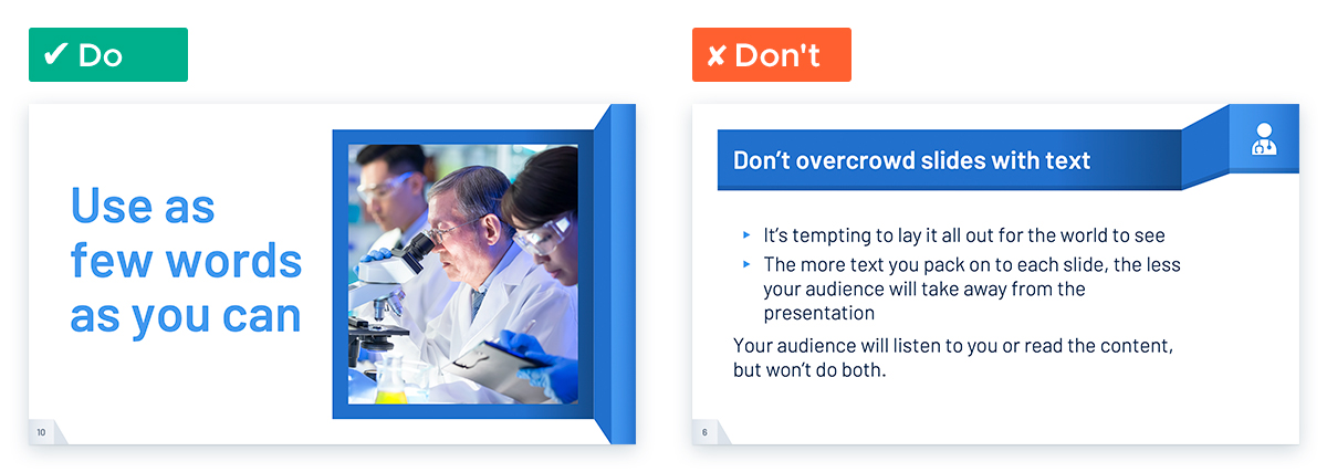 Create an Effective and Engaging Medical Presentation: Don't overcrowd slides with text
