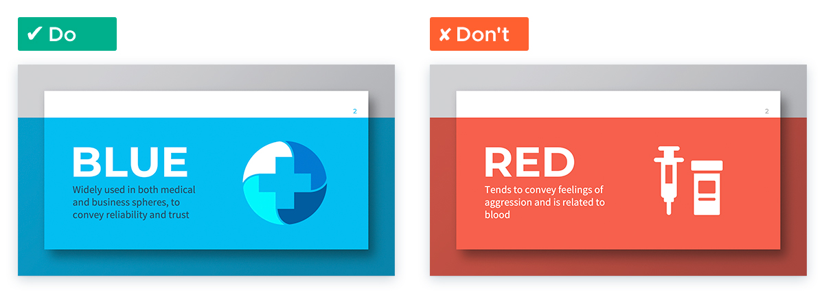 Create an Effective and Engaging Medical Presentation: Use blue to convey reliability and trust
