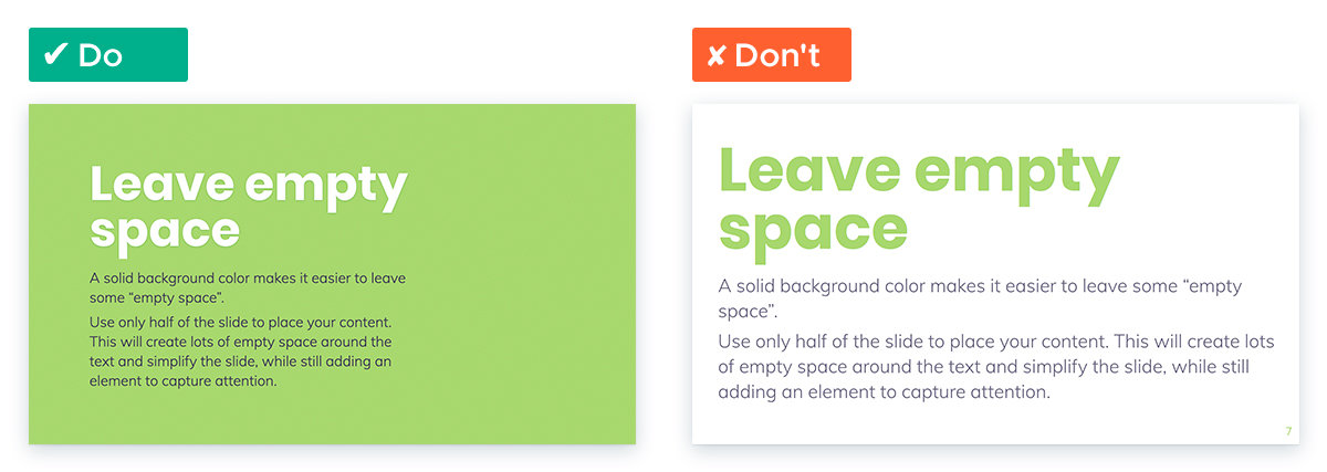Tips For Working With White Space In Your Presentation Slides: Leave space over colored background
