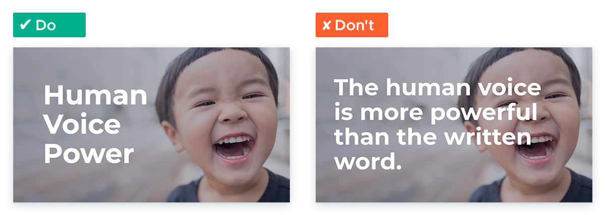 Tips For Working With White Space In Your Presentation Slides: Use words, not sentences