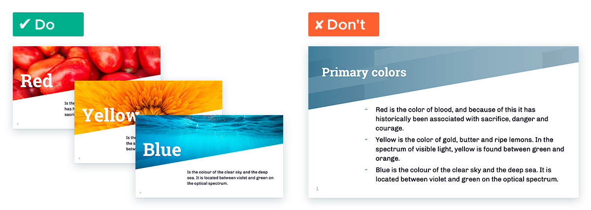 Tips For Working With White Space In Your Presentation Slides: Split the content