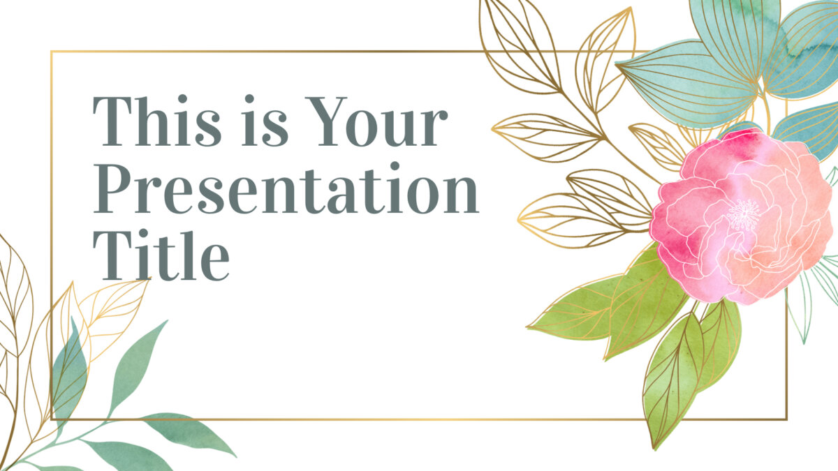Free elegant Powerpoint template and Google Slides theme with floral watercolors