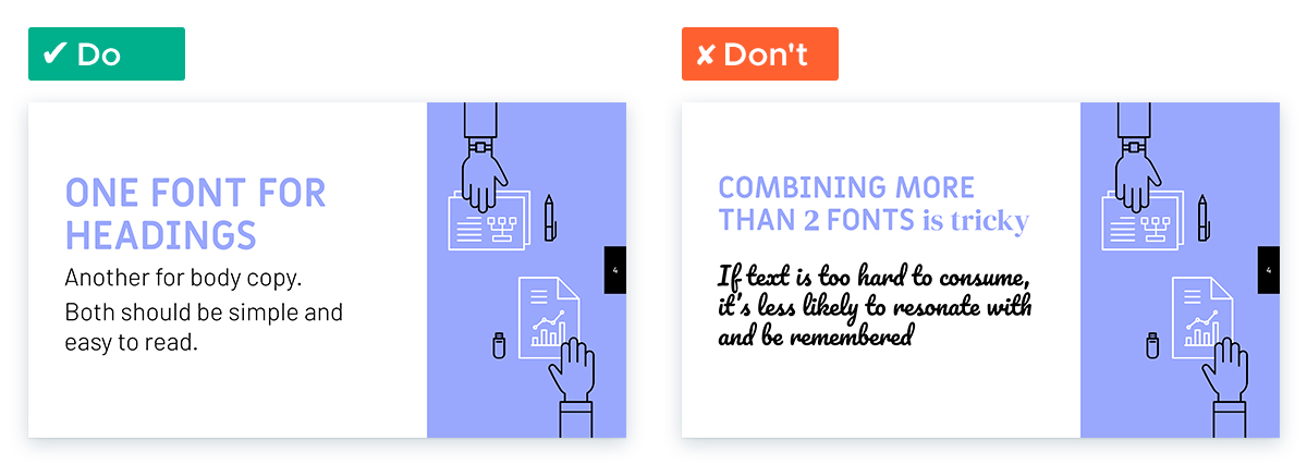 Design Tips for Non-Designers To Use In Your Next Presentation - Limit fonts