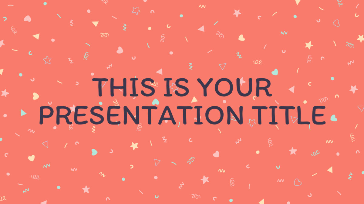 Free cute Powerpoint template and Google Slides theme with confetti in pastel colors