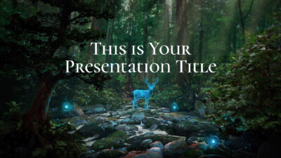 Free inspiring Powerpoint template and Google Slides theme with magical forest illustration