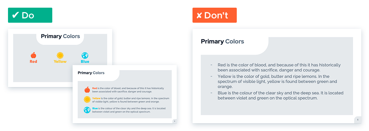 Easy Tricks for Designing a Text-heavy Presentation: Introduce then separate