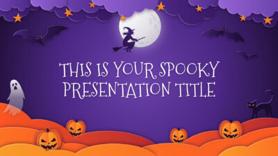 Free Halloween Powerpoint template and Google Slides theme with paper-cut illustrations