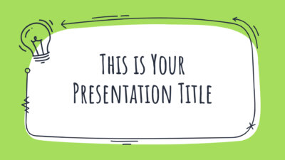 Free creative Powerpoint template and Google Slides theme with doodles and green color