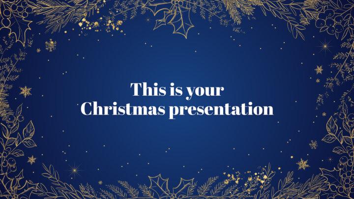 Golden Christmas. Free PowerPoint Template & Google Slides Theme