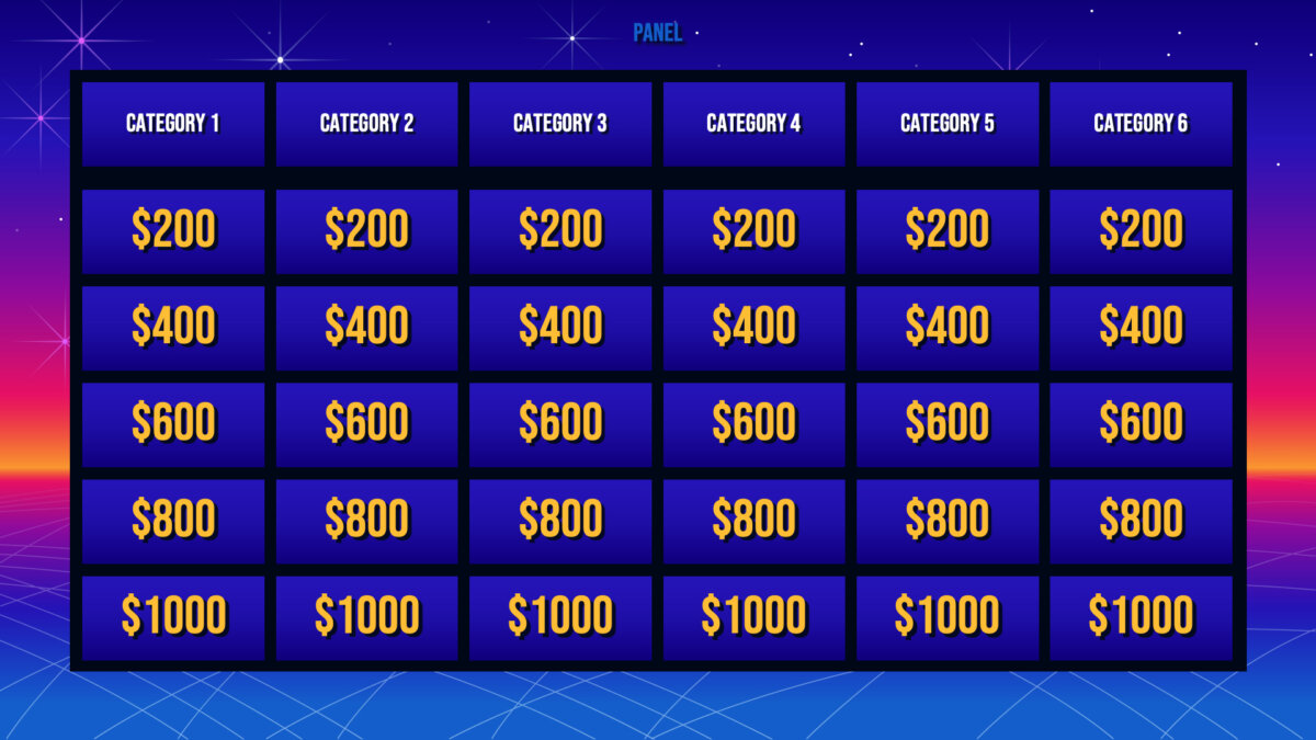 Jeopardy game made with Google Slides and SlidesCarnival template