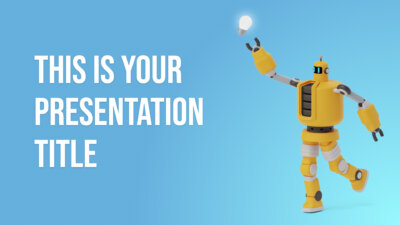 Free educational Powerpoint template and Google Slides theme with with cute robots