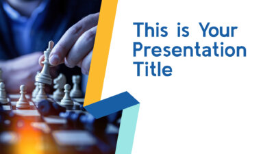 Free professional Powerpoint template and Google Slides theme with yellow and blue geometric ribbons