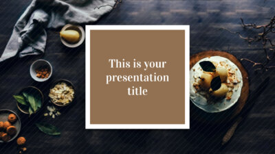 Free stylish PowerPoint template and Google Slides theme with food photos and brown color