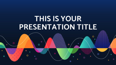 Free music Powerpoint template and Google Slides theme with colorful sound waves