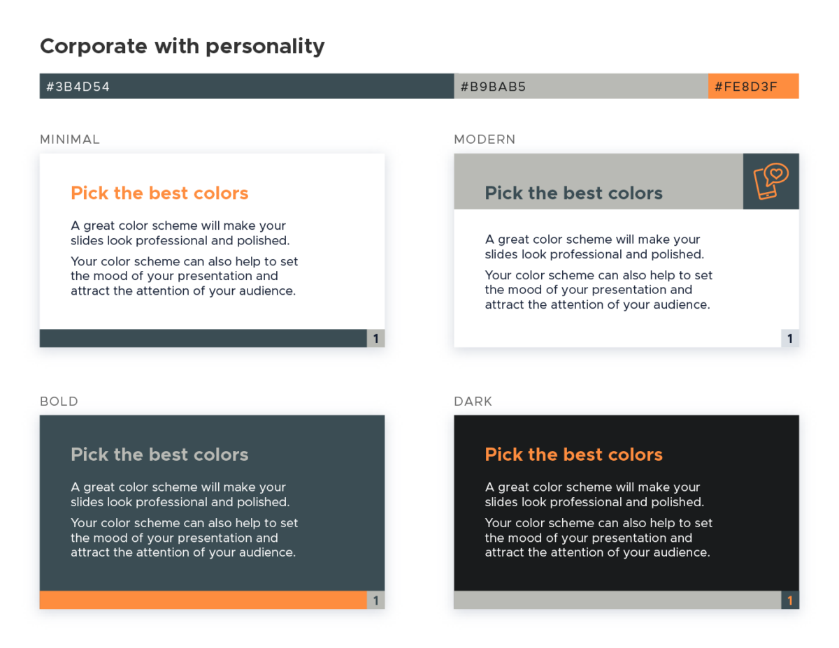 Color scheme for presentations - Corporate with personality