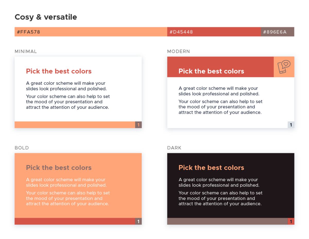 Color scheme for presentations - Cosy and versatile