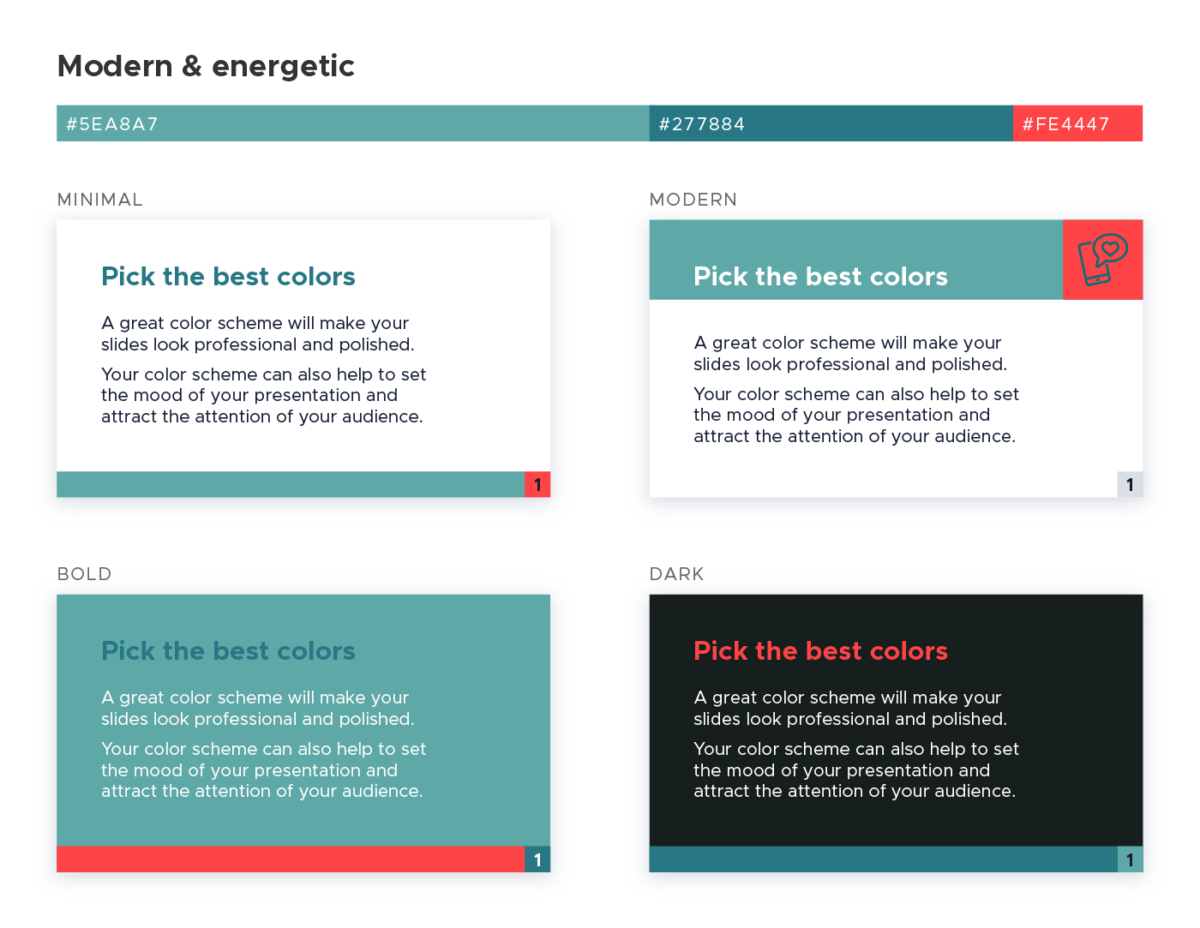 Color scheme for presentations - Modern and energetic