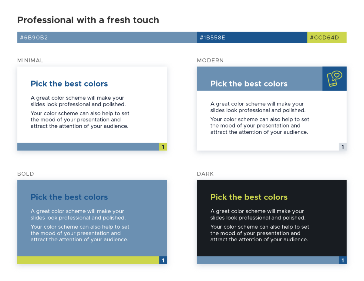 Color scheme for presentations - Professional with a fresh touch